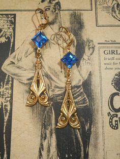 Blue Phryne Fisher Earrings - Art Deco Jewelry - Miss Fisher Jewelry - Art Nouveau Jewelry - 1920s Flapper Earrings - Womens Jewelry by BohemeBijou on Etsy