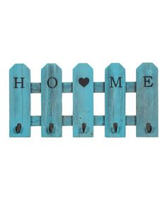 Loving this Turquoise Wood 'Home' Picket Fence Five-Hook Shelf on #zulily! #zulilyfinds