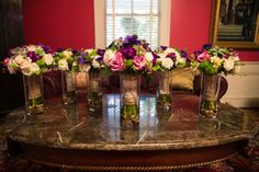 A Gilded Affair, Gilded Petals Bridal and bridesmaids purple, green, ivory and succulent bouquets   photo by AzulOx Visuals