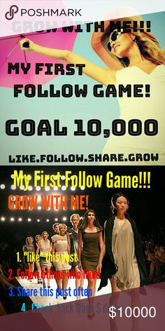 Share now! I've never done a follow game, so I thought I'd give it a shot :) I would LOVE to find some Posh Mentors to help me make my closet the best it can be. And am happy to help and answer and questions for those learning the ropes :) Thanks lovies!!!  1. Like this post 2. Please follow everyone who likes the post (Yes, I'm talking to YOU who liked the post and didn't follow anyone...) 3. Check back each time the price drops - follow & share 4. Watch your followers grow!   Bags
