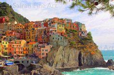 Cinque Terre  Manarola  Impasto Oil Painting  by SafranFineArt, $30.00