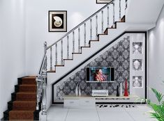 54 Awesome Big Living Room Design Ideas With Stairs – ROUNDECOR Fantastische große Wohnzimmer-Design-Ideen mit Treppe 48 Living Room Under Stairs, Space Under Stairs, Big Living Rooms, Loft Stairs, House Stairs, Small Living, Stair Wall Decor, Stair Walls, Staircase Decoration