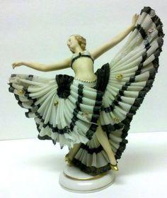 Antique DRESDEN Lace Figure Franz Wittwer Germany Ballerina Dancer Porcelain.