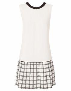 Hi There From Karen Walker - Ivory Drop Waist With Textured Grid Print Skirt