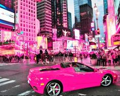 cool pink Ferrari in the city...  Cars