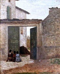Silvestro Lega  (Modigliana, 8 dicembre 1826 – Firenze, 21 novembre 1895) L'ora dell'Ave Maria - Il passagio del viatico  #TuscanyAgriturismoGiratola