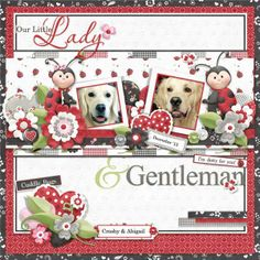 Cute ladybug layout for Valentine's Day. FQB - Ladies & Gentlemen Collection
