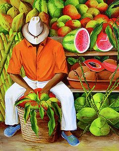 Manuel and his Fruit Stand by Dominica Alcantara African American Artist, American Artists, Hibiscus Drawing, Diego Rivera Art, Hispanic Art, Latino Art, Polynesian Art, African Art Paintings, Caribbean Art