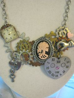 Steampunk Skull Cameo Necklace by jansbeads on Etsy, $32.50  Check out for Valentines Day!