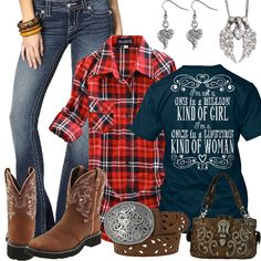 Red Plaid Flannel with Navy Shirt Outfit - Real Country Ladies