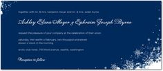 "Signature White Wedding Invitations - Frosty Wind by Wedding Paper Divas Front: Navy, 9.25x4"", $1.64/card = $263 including white envelopes + extras"