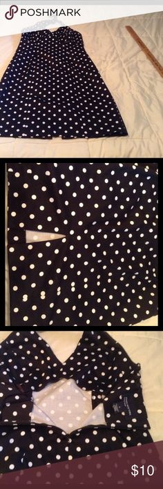 """Polk Dot Sundress This is beautiful ladies!  Wish I could wear it, oh well.  27"""" from underarm to hem.  Back zipper., tie around neck.  Top is lined.  97% Cotton, 4% Lycra.  Machine wash, tumble dry. Jones New York Signature Dresses"""
