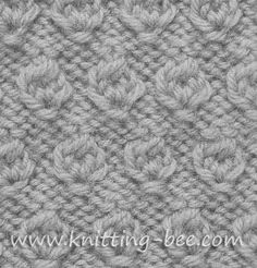 Abbreviations: k= knit p= purl yf = yarn forward tog = together Cast on multiples of 4 Row 1 (RS): yf, into next st; rep from* Rows 2 and rep from* Row tog, rep from* Row purl Row knit Row… Knitting Stiches, Easy Knitting Patterns, Knitting Charts, Loom Knitting, Knitting Designs, Crochet Stitches, Hand Knitting, Stitch Patterns, Knit Crochet