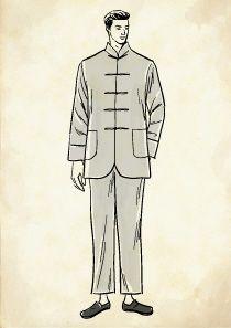 メンズチャイナシャツを着た現代中国人男性のイラスト メンズ