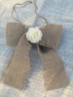 Simple Burlap Bow Beige Rustic Wreath Pew Isle Bow Holiday Fall Autumn Christmas Decor Gift Party Ribbon Country Wedding