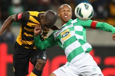 Thabo Nthethe from Bloemfontein Celtic wins the ball.