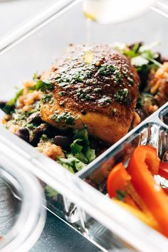 Spicy Chicken with Rice and Beans + a yummy cilantro sauce = healthy meal prep t. Spicy Chicken with Rice and Beans + a yummy cilantro sauce = healthy meal prep to last you all week! Love this recipe. Sunday Meal Prep, Easy Meal Prep, Healthy Meal Prep, Healthy Cooking, Easy Meals, Healthy Eating, Healthy Recipes, Healthy Food, Healthy Chicken