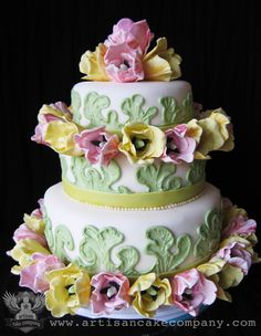 Unique and specialty wedding cakes created just for you! Fondant, cakes and fillings all made from scratch! Gorgeous Cakes, Pretty Cakes, Amazing Cakes, Artisan Cake Company, Pool Cake, Tulip Wedding, Just Cakes, Unique Cakes, Floral Cake