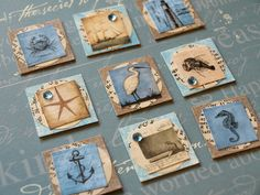 Ocean Inchies by Shanda Panda, via Flickr; small drawings on book page backgrounds...