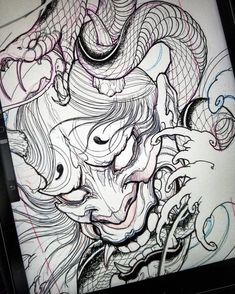 More iPad sketching. #chronicink #asianink#tattoo #sketch #hannya #snake #procreate #ipadpro #ipadproart #illustration #drawing #irezumi