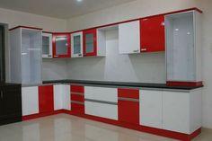 Sree sumargar interior bangalore Red Kitchen Cabinets, Kitchen Cupboard Designs, Kitchen Room Design, Modern Kitchen Design, Interior Design Kitchen, Moduler Kitchen, Kitchen Ideas, Kitchen Trolley, Cheap Kitchen