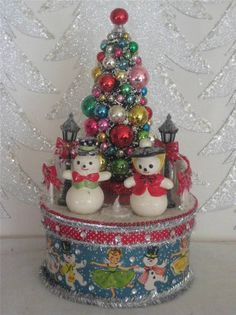Cute Christmas Collage Box Twinkling Lights Vintage Snowmen Decorated Tree   eBay