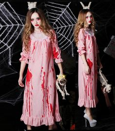 2016 Hot Sell New Cosplay Costume Halloween Horror Bloody Zombie Clothing  With Blood Stained Pink Pajamas 8d5ec82bf043