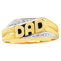 Elora 10k Yellow Gold Round White Diamond Accent Men's DAD Ring (I-J, I2-I3) (Size 9.5, Yellow Gold)