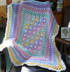 Pastel Crochet Baby Afghan by SleepyHollowCrochet on Etsy, $50.00