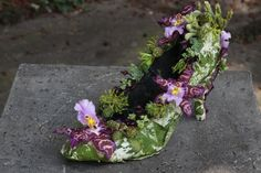 botanical shoe with purple orchids and texture, Françoise Weeks
