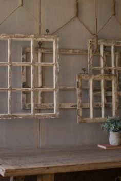 Window Frame Wall Decor Old Rustic Window Wall Art Set of 4 841628136487 Window Frame Decor, Old Window Frames, Frames On Wall, Framed Wall Art, Window Ideas, Window Pane Crafts, Old Window Headboard, Rustic Window Decor, Vintage Window Decor