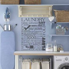 Laundry Room Wall Decal - Subway Art Vinyl Laundry Room Wall Quote - Vinyl Wall Decal Saying Lettering 30Hx22W LQ001. $36.95, via Etsy.