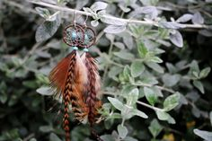 Natural Grizzly Feather Dream Catcher Earrings by nZuriArtDesigns