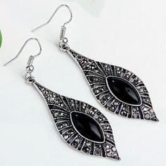 1 Pair Black Metal Rhinestone Dangle Hook Earrings 1.77