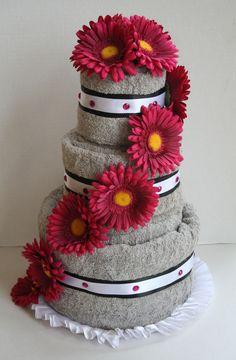 Fuchsia Gerber Daisy Towel Cake for a Bridal Shower