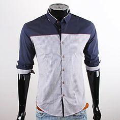 CUBFACE Men's Royal Blue Long Sleeve Leisure Business Fit Shirt