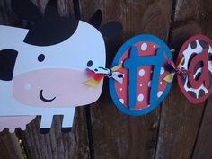 Farm Animals Happy Birthday Banner in red yellow by SweetBugABoo, $35.00