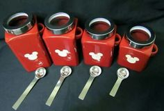 Walmart canisters and Mickey decals! Mickey Mouse House, Mickey Mouse Kitchen, Mickey Mouse Clubhouse, Mickey Minnie Mouse, Mini Mouse, Casa Disney, Disney Rooms, Disney Diy, Disney Stuff