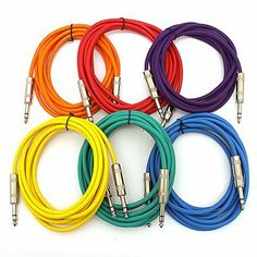 """SEISMIC AUDIO - SATRX-10 - 6 Pack of Muliple Colored 10' 1/4"""" TRS to 1/4"""" TRS Patch Cables by Seismic Audio. $34.99. 6 Pack of Muliple Colored 10' 1/4"""" TRS to 1/4"""" TRS Patch Cables Model Number: SATRX-10 (Pack of 6)Multiple Colors: Blue, Green, Orange, Red, Yellow, PurpleMetal 1/4"""" TRS with High Grade Fiberglass Insulators on both endsHeavy Duty Flexible Rubber JacketLength: 10 Feet eachShielded CablesThese cables are brand newOne year warrantyBalanced 1/4"""" cables are typ..."""