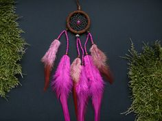 Small pink dream catcher rear view mirror by DeiDreamCatchers