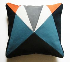 Grey Blue Orange 'AU' After Upholstery patchwork cushion by funmakes good