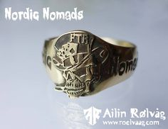 Ring for the Norwegian motorcycle-club Nordic Nomads. Made in 14K yellow gold by jewellery designer Ailin Roelvaag. #MC-ring #skull #ring #gold #custommade #jewellerydesign