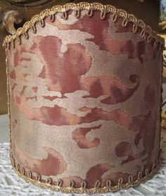 Wall Sconce Clip-On Shield Shade Fortuny Fabric Deep Burgundy & Gold Sevigne Pattern Mini Lampshade