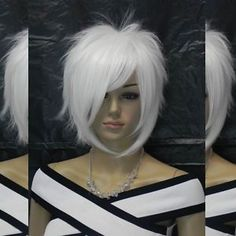 Charm Short White Straight Spiky Punk Layered Cosplay Synthetic Hair Full Wig | eBay