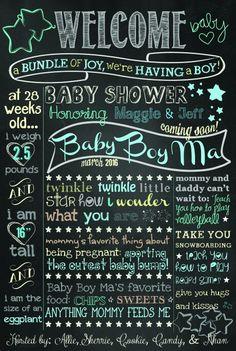 Boy Baby shower chalkboard sign. Twinkle twinkle star theme.