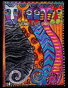 """❀""""WILDCATS, ALL GRACE AND SPIRIT… LOOKING INTO MY SOUL WITH THEIR ANCIENT EYES."""" Laurel Burch — with Anabella Rodriguez.                                                                                                                                                     More"""