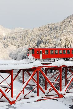 Snow Rail and red train, Akita, Japan Trains, Winter Schnee, Train Tracks, Akita, Okinawa, Red And White, Places To Go, Beautiful Places, Scenery