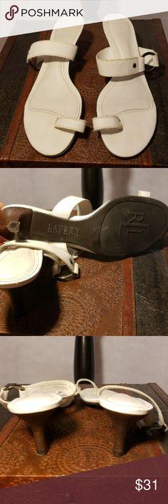 Ralph Lauren slip on one toe sandals One toe ring slip on sandals. Leather upper wood soles. 2 1/2 inch heels. Ralph Lauren Shoes Sandals