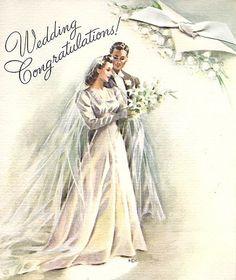 1940s Wedding Card