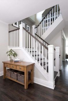 What Is A Banister On Stairs Best Stair Banister Ideas On Banisters Banister Congress Park Whole House Refresh A Classic Railing Colors Banister Banquette Banister Stairs Ideas Staircase Railings, Banisters, Staircase Design, Staircase Ideas, Stair Bannister Ideas, Staircase With Landing, Entryway Stairs, Basement Stairs, Stair Idea